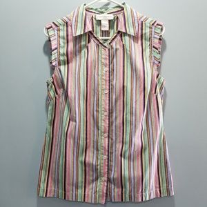 Doncaster Button Down Striped Sleeveless Top P308